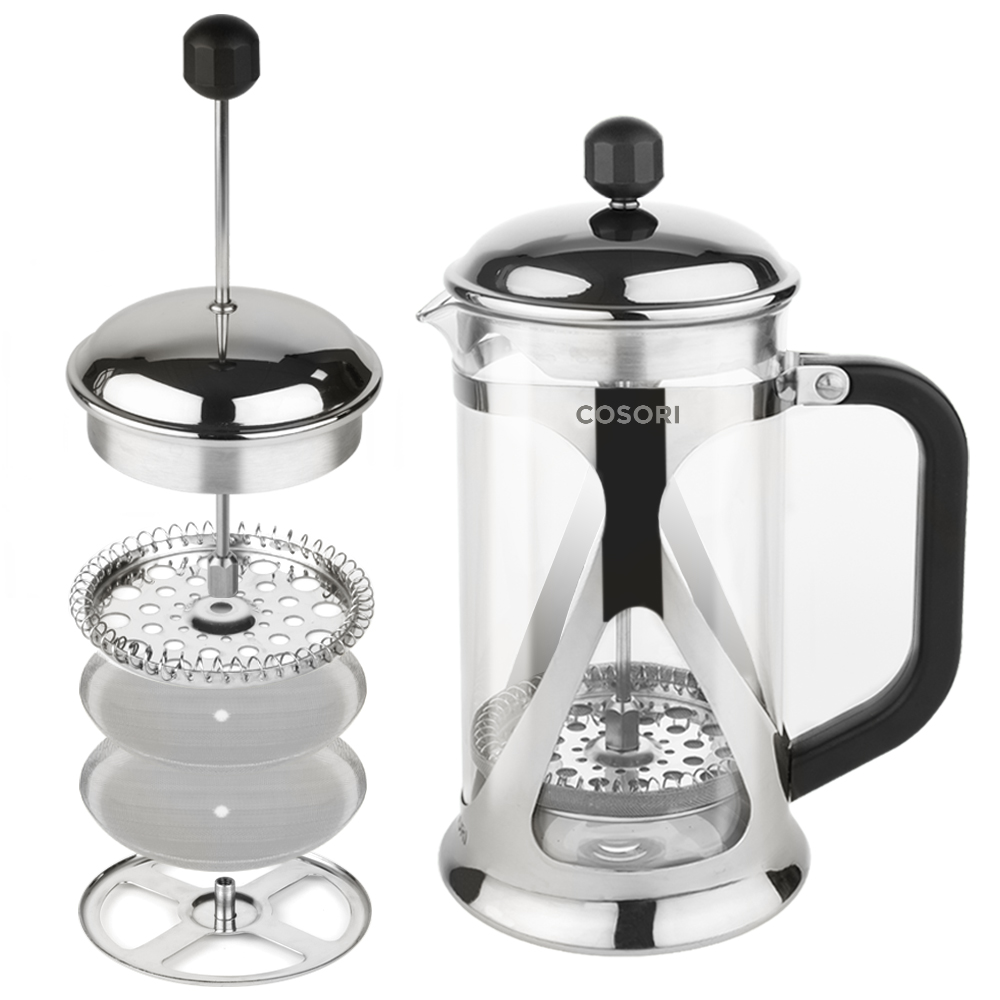 SEAMLESS FILTRATION   2 stainless steel screen filters finely strain and extract aromatic taste and mellow flavor. The filters are set on a spring loaded base plate which, like a seal, lies flush against the carafe walls