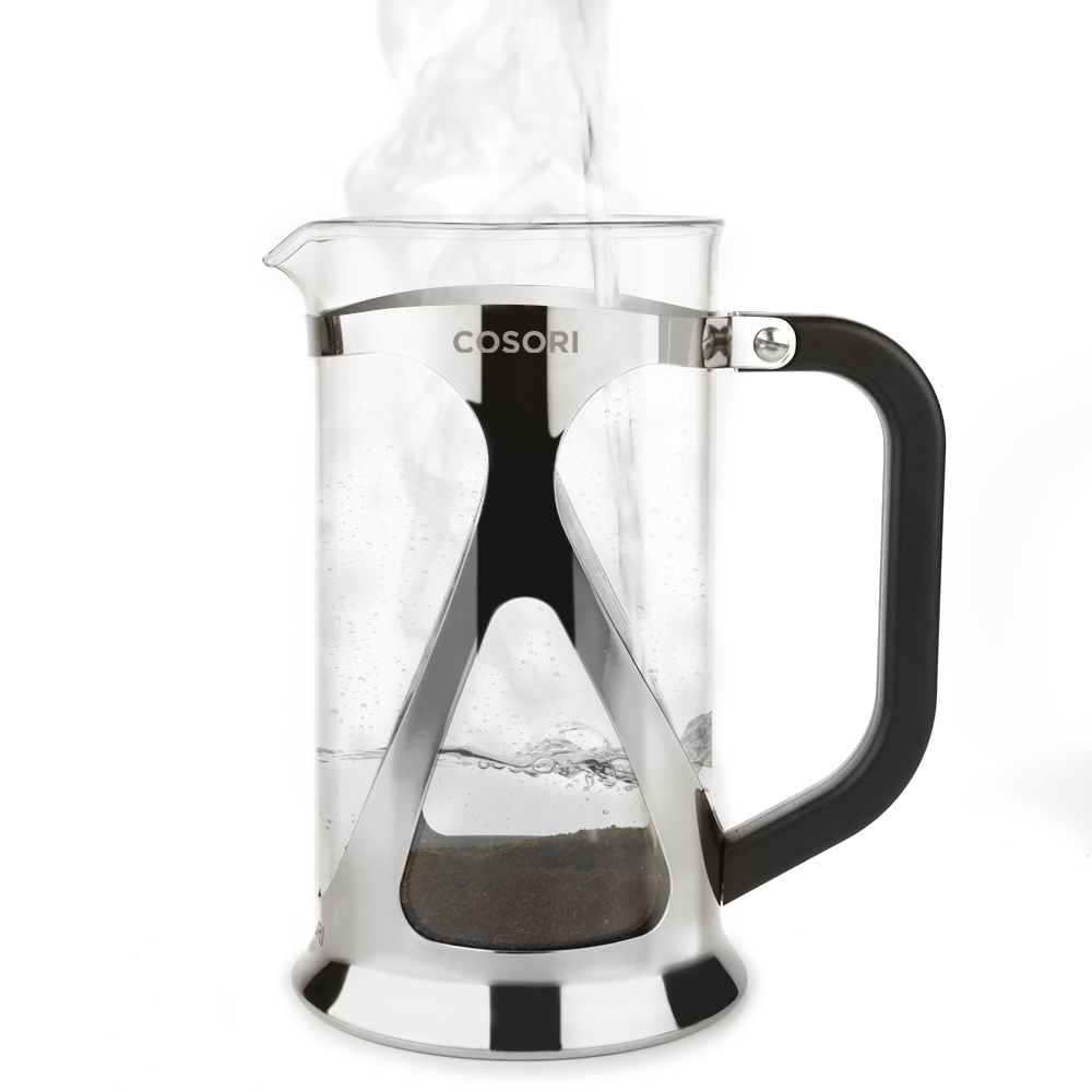 QUALITY COMPONENTS   The high-quality and heat-resistant borosilicate glass carafe is framed by a durable shell of 304-grade stainless steel