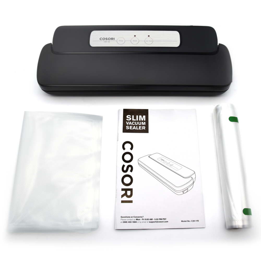 THE RIGHT TOOLS TO GET YOU STARTED   This handy appliance comes with 5 pre-cut bags as well as a vacuum bag roll so that you can create custom-sized bags for all of your different kitchen creations.
