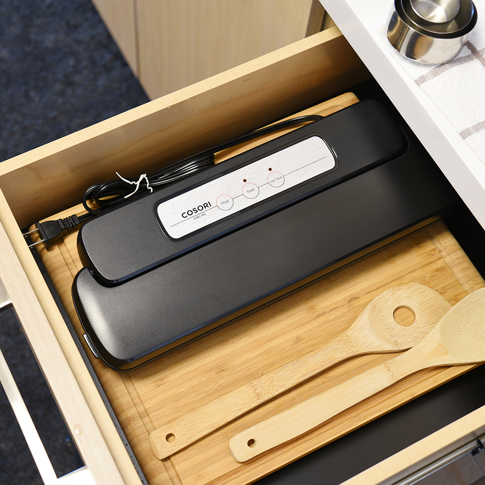 SLIM DESIGN   The Cosori Vacuum Sealer easily fits in drawers or cabinets in the kitchen. Conveniently place it where it's easily accessible to vacuum seal your favorite meats, vegetables, and fruit.