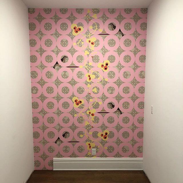 A pretty wall awaits a custom closet. Thank @sarahrowlanddesign! Katie in pink. #gopinkorgohome #peekingbirds #design #interiordesigner #designlife #customcloset #804 #richmond #rva #renovation #wallpaper