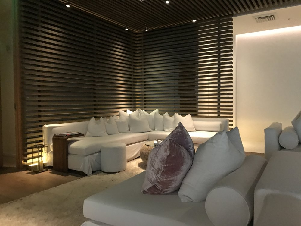 The waiting area at the spa. Very chic