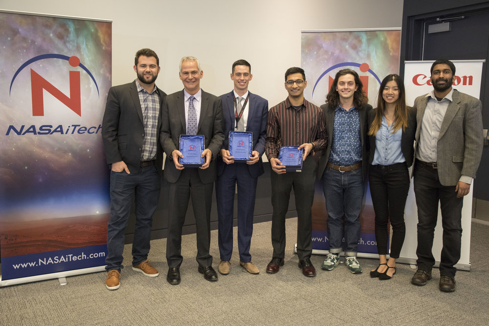 Congratulations to our 2018 NASA iTech Cycle ITop Three Finalists - FGC Plasma Solutions - Argonne, IllinoisInnovation: Novel Fuel Injectors to Enable Clean, Compact Propulsion.Plasma-assisted fuel injectors for improved combustion in jet engines and gas turbines.Challenge Area:X-Factor InnovationGermfalcon - Los AngelesInnovation: Germfalcon - Germicidal UVC Emitting Robot for Commercial Aircraft.A germicidal UVC product designed for airlines that eliminates viruses and bacteria known to cause disease on high-touch aircraft surfaces.Challenge Area: Medical Breakthrough Somatic Labs - PhoenixInnovation: Tactile Interfaces for Augmented Reality to Enhance Communication.A design software and reference hardware that animates the human sense of touch.Challenge Area: Augmented Reality Advancement