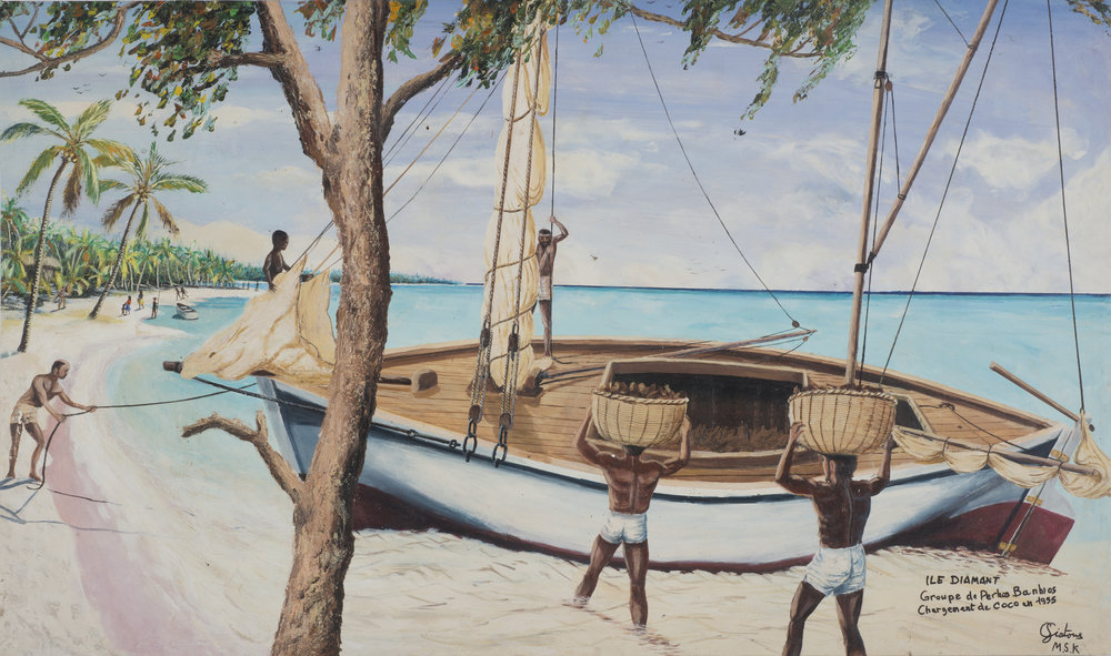 Clement Siatous, Ile Diamont, Groupe de Perhos Banhos, Chargement de Coco en 1955, 2001. Acrylic on linen, 26.25 x 45.75 in. / 66.7 x 116.2 cm. Image courtesy Simon Preston Gallery, New York
