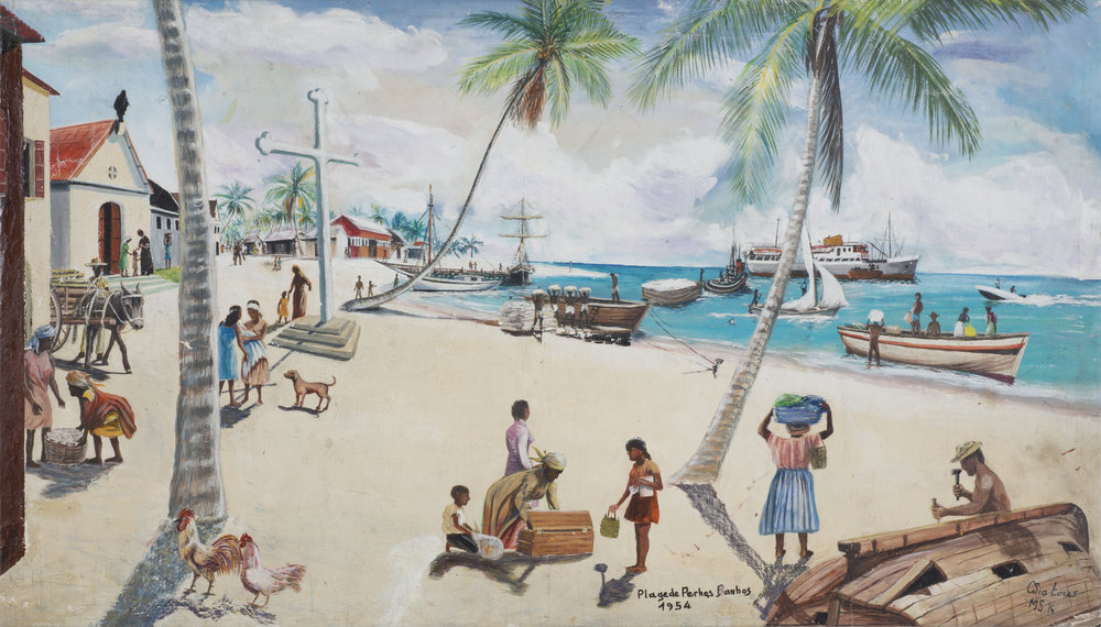 Clement Siatous, Plage de Perhos Berhos, 1954, 2001. Acrylic on linen, 25.25 x 44 in. / 64.2 x 111.8 cm. Image courtesy Simon Preston Gallery, New York