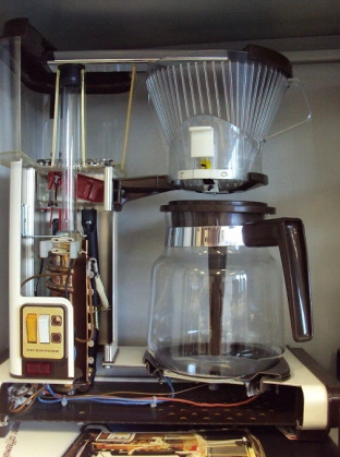 The inside of a 1970's Moccamaster