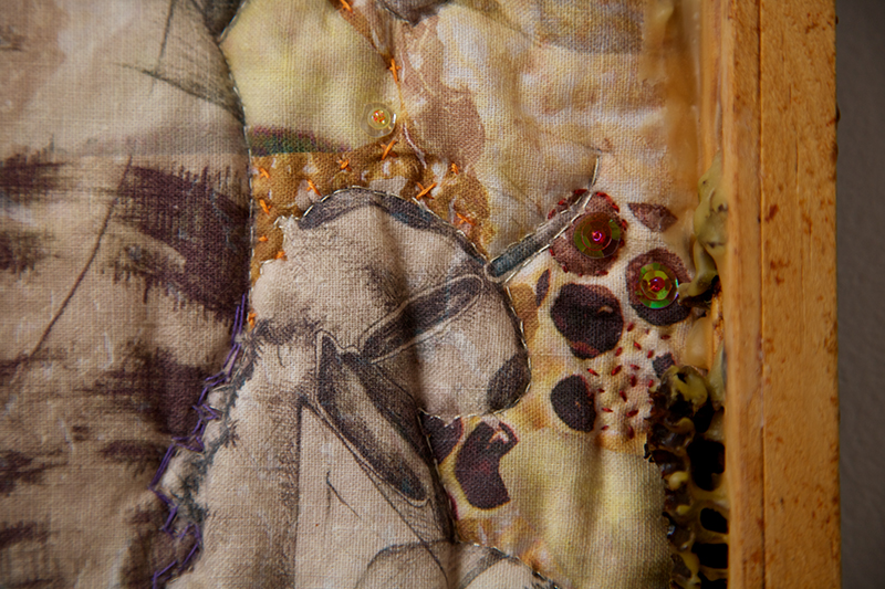 Taste This Minute (honey) detail  Digitally printed linen, hand embroidery and beading, beeswax, used bee frame  2009
