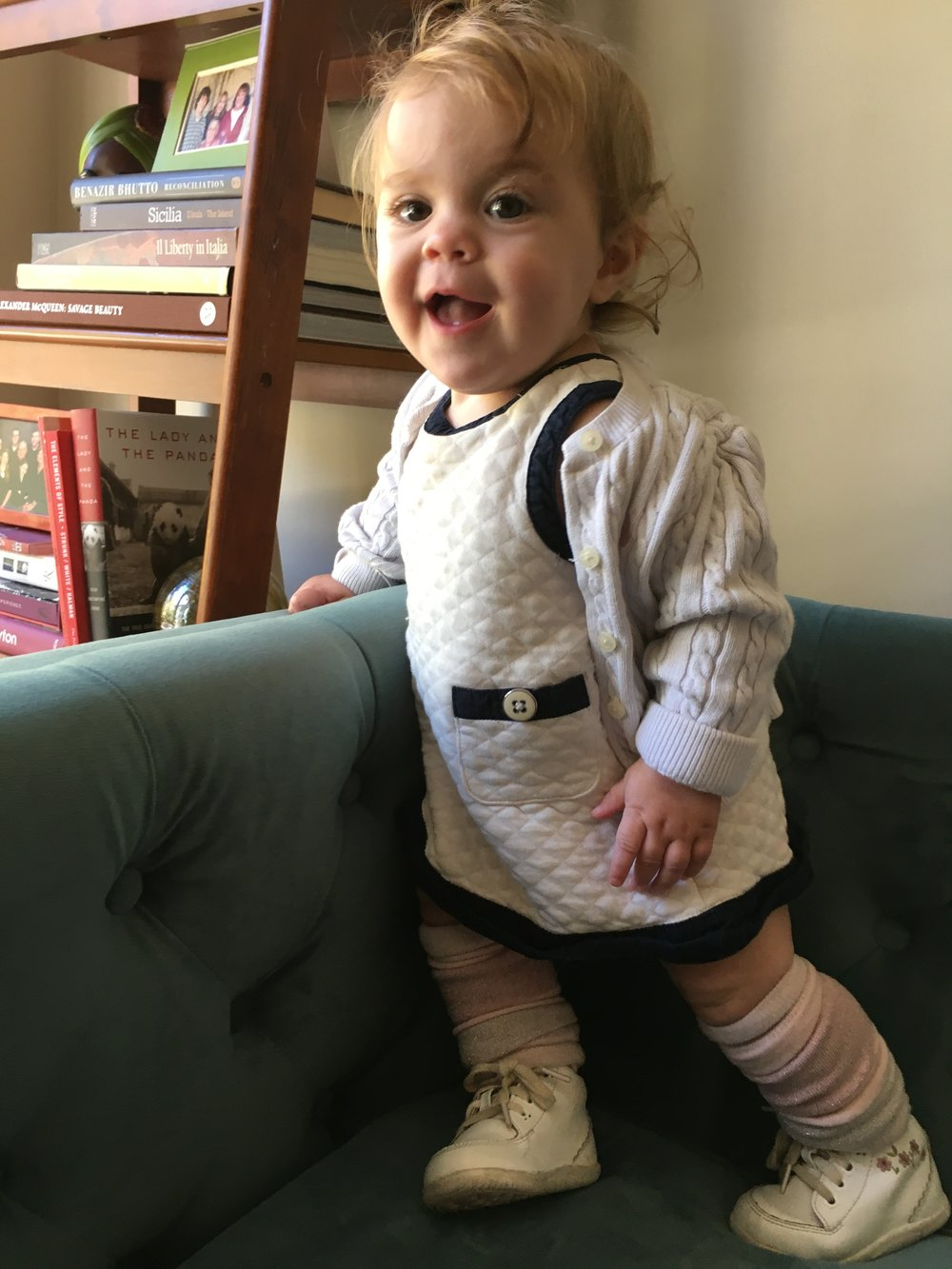 Pantsuit legacy (When you have thigh rolls like these, you don't cover them up with pants. Millie's wearing suffragette white instead. #legwarmernation)