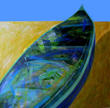 The work of Egyptian painter Wael Sabour, who has contributed a few paintings, often features boat and harbor motifs, symbolizing harmony.