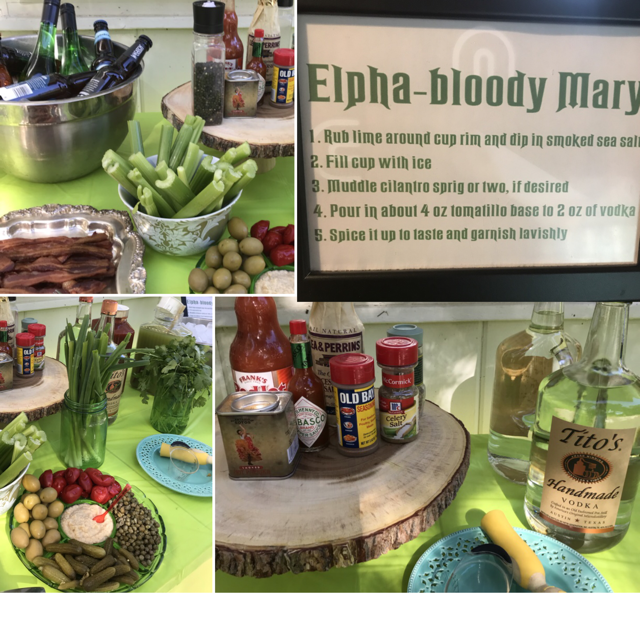 To keep things Wicked, we did a traditional Bloody Mary as well as a tomatillo version, because... green. I used  Food & Wine's recipe  for the traditional bloody Mary mix, and  this one  from Salt & Wind for the Elpha-bloody Marys.