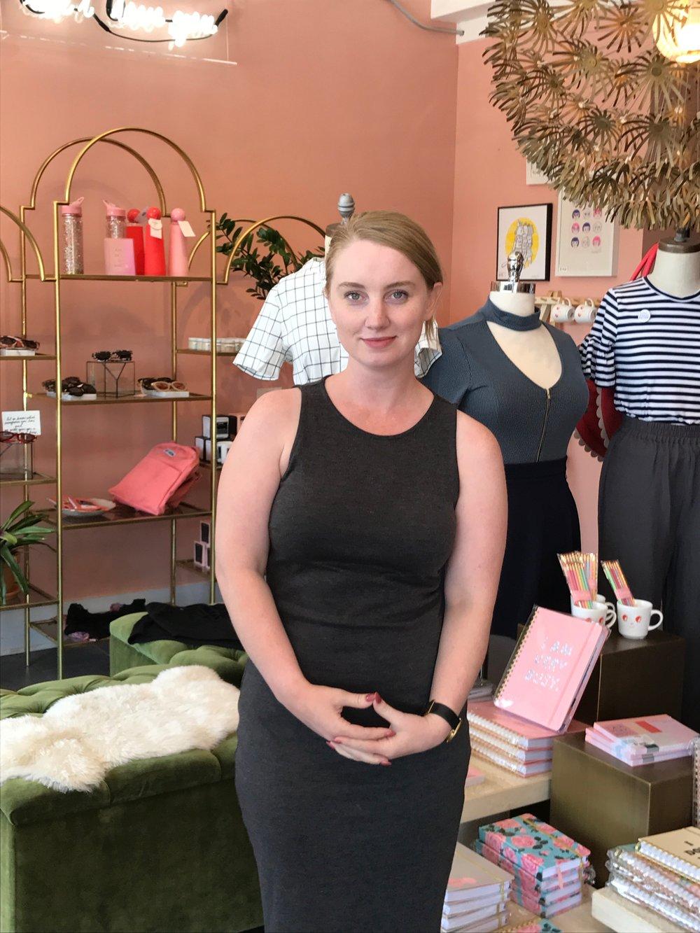 Megan in her store.JPG