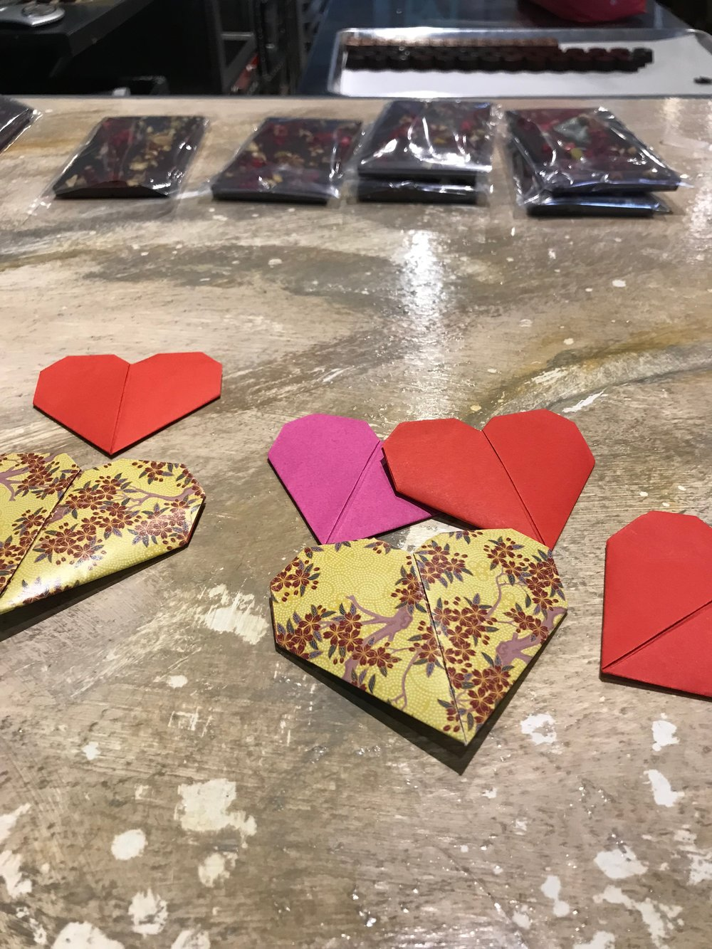 Tina's young son, a budding origami artist, created these hearts to pair with her chocolates.