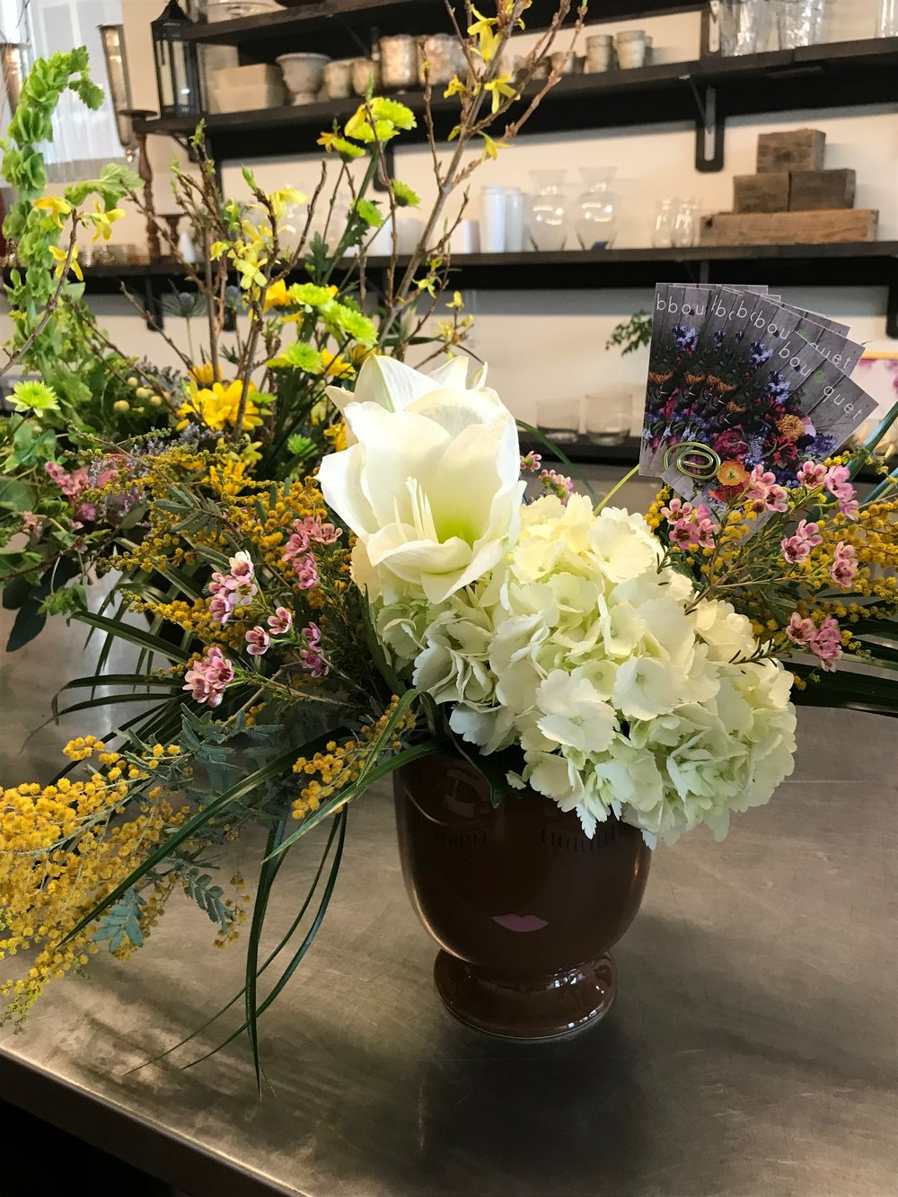 """We try to set ourselves apart by incorporating greenery that is more graphic and creating a more unique and organic shape,"" says Bouquet designer Mark Griffith."