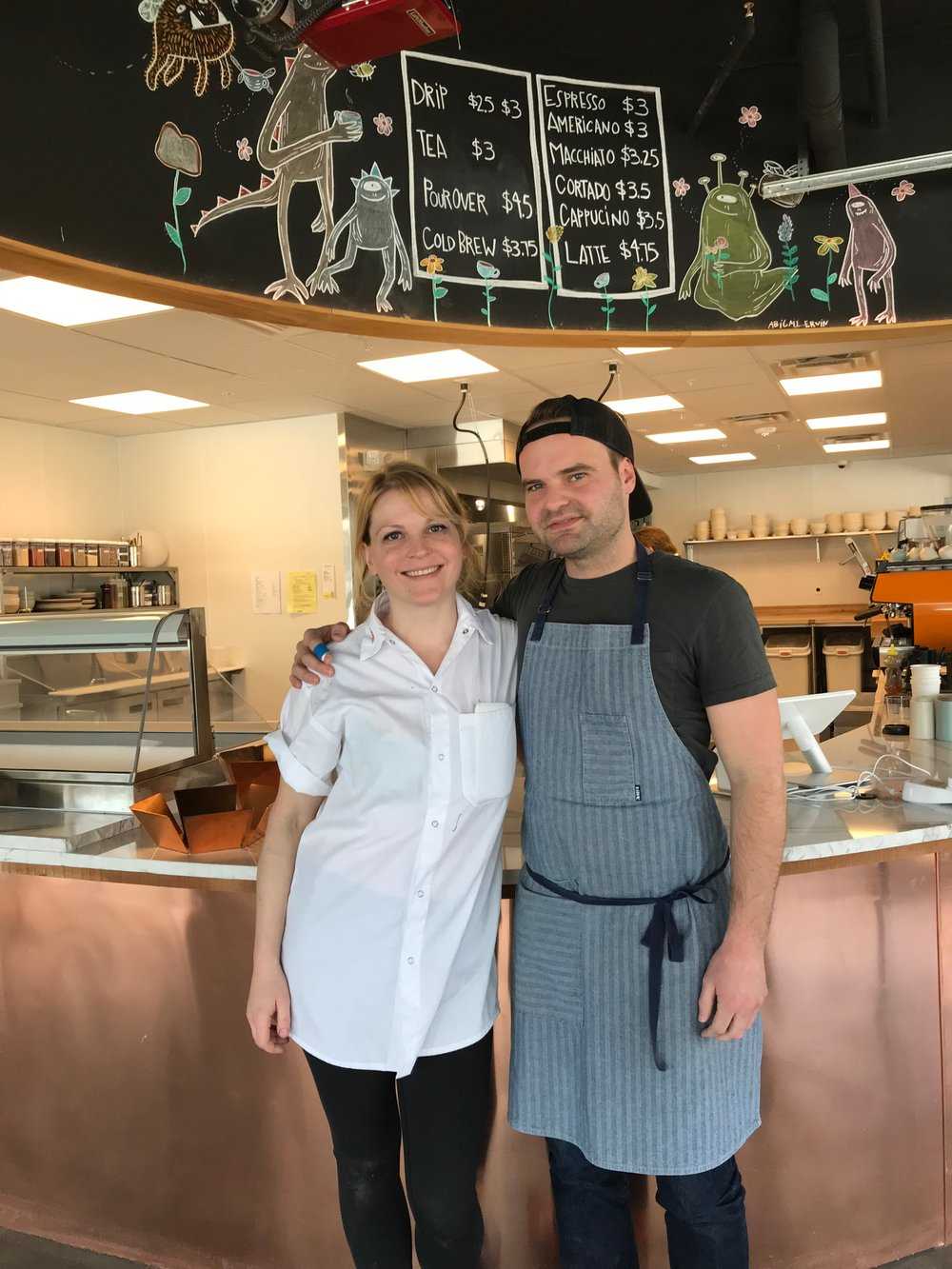 Ellie Pegler and her friend from culinary school, food stylist Brett Regot, who joined her in Omaha to oversee Farine + Four's savory program.