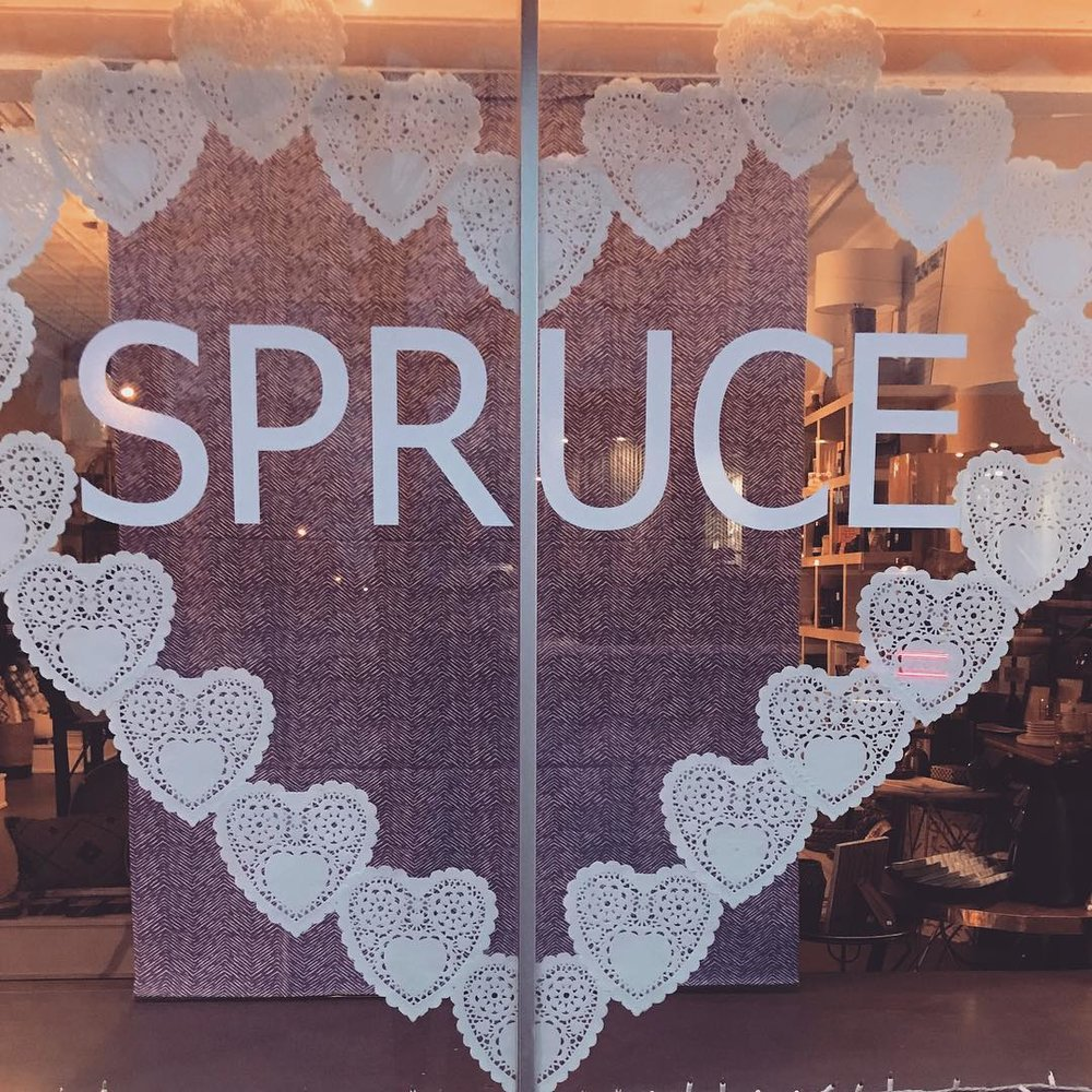 Spruce's Valentine's Day window. (photo courtesy of Spruce)