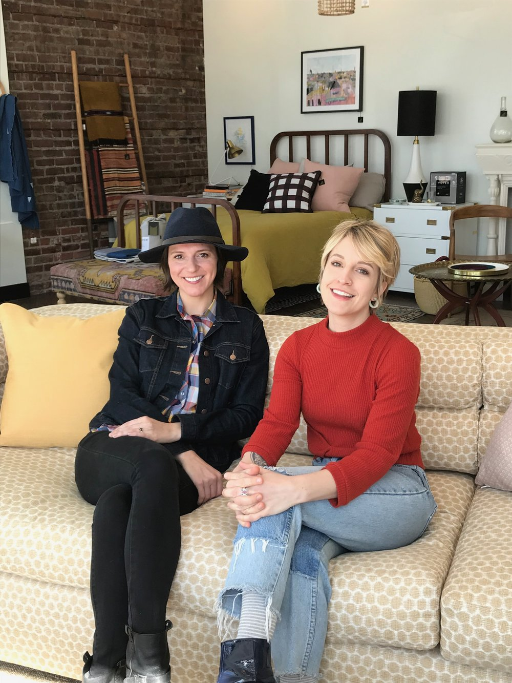 Birdhouse founder and owner Jessica McKay (left) with designer and showroom manager Cora Coppock.