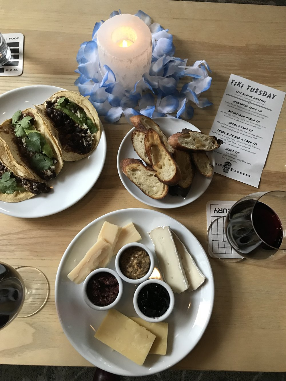 Black bean tacos, a nice cab and a cheese platter we couldn't finish (but wished we could) at Mercury.