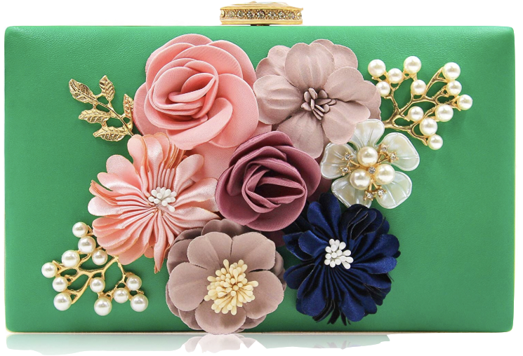 An emerald-colored floral clutch is a vintage-lover's dream. Milisente Women Flower Clutches Evening Bags Handbags Wedding Clutch Purse, $22 on  Amazon .
