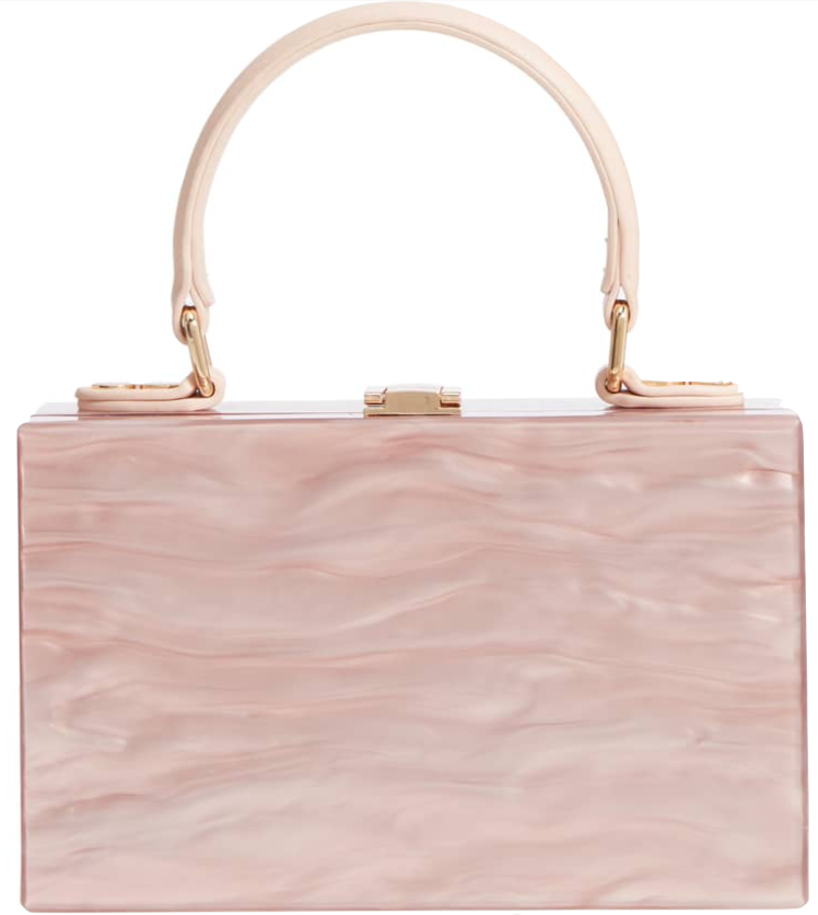 The classic frame bag meets rosé wave in Clara Top Handle Box Clutch in pink by Like Dreams, $68 at  Nordstrom .