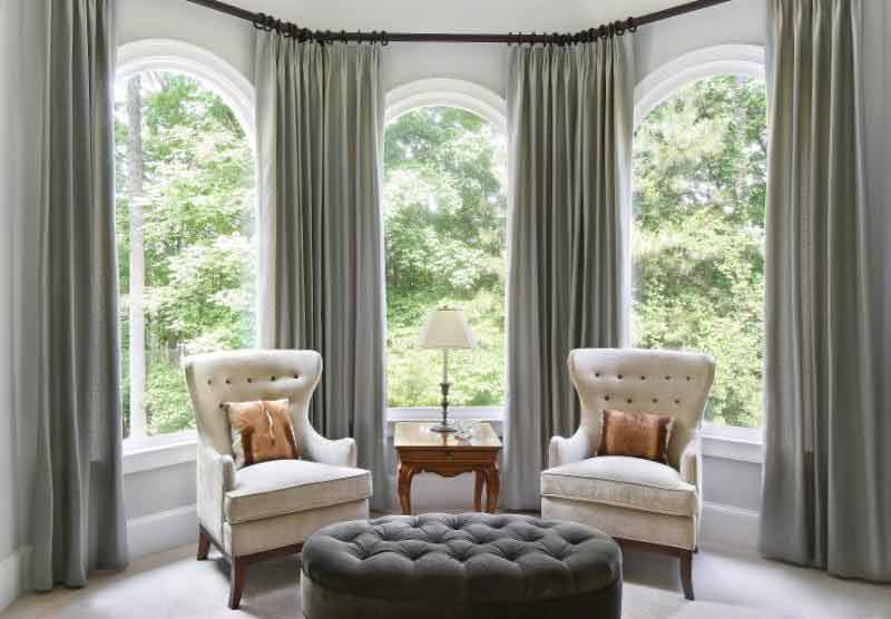 Euro pleat panels adorn this bay window.