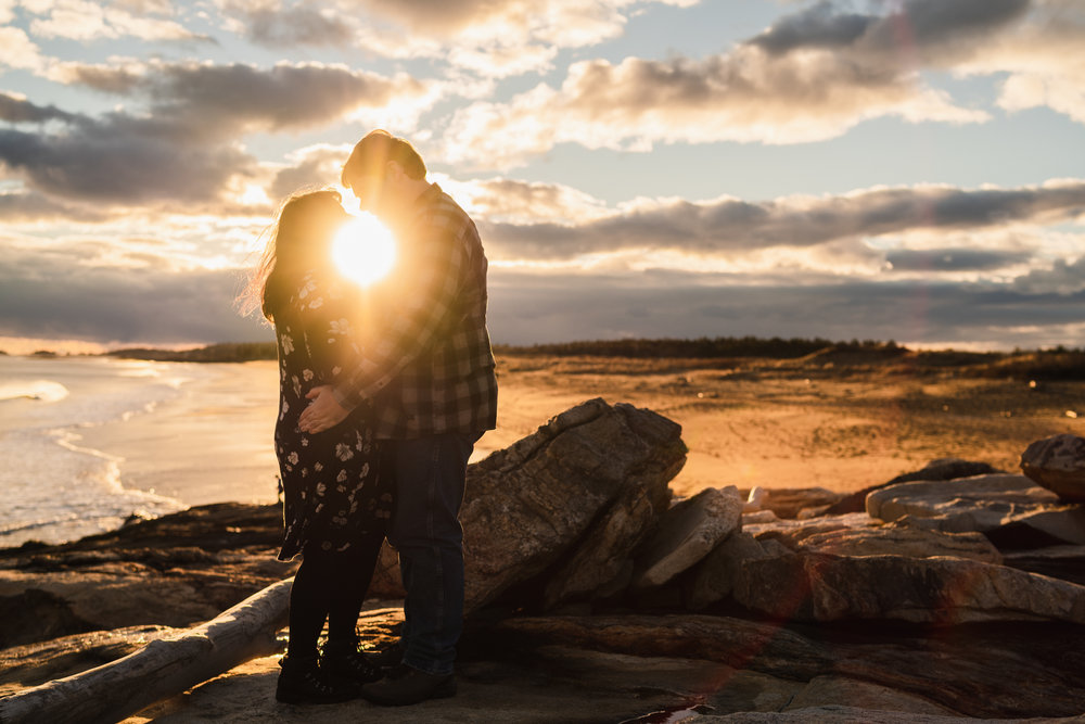 reid state park maine sunset ocean engagement session