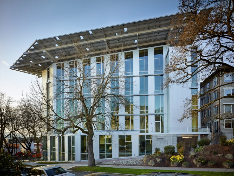 "The Bullitt Center, Seattle, Washington. Miller Hull Partnership, 2013 | 6 stories     Uses timber construction as the guiding means to show that carbon-neutral office space can be ""commercially viable and aesthetically stunning."""