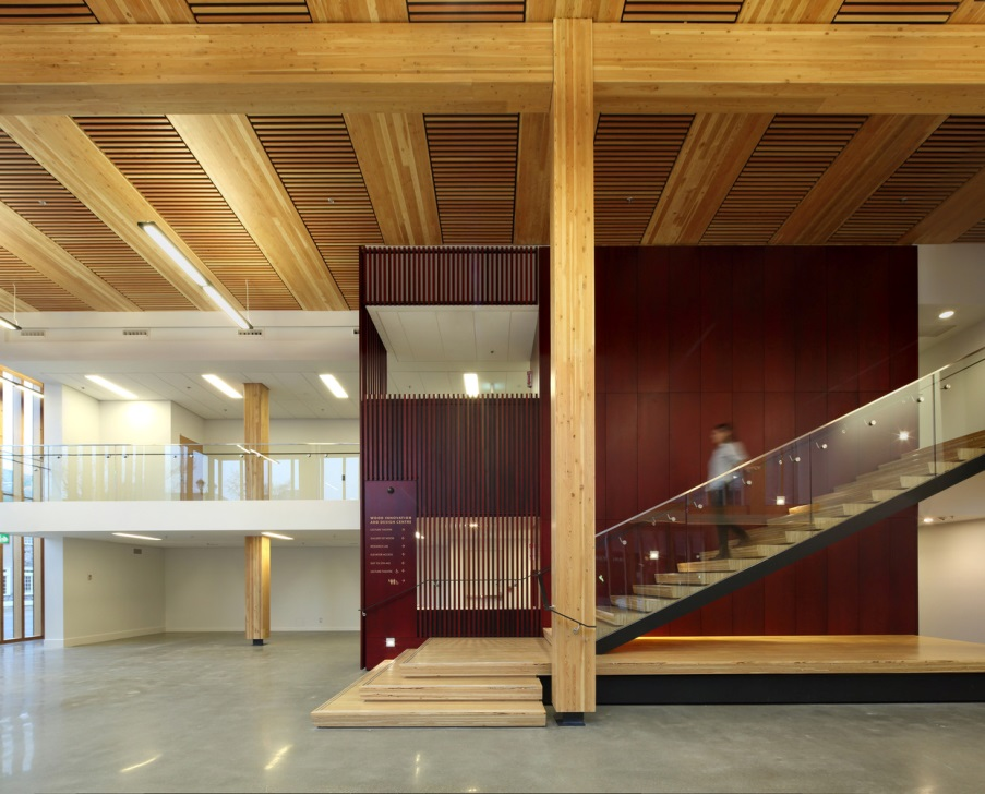 Wood Innovation Design Center, Prince George, BC. Michael Green Architects, 2014 | 8 stories        The careful attention to interior detail also inspires the researchers, academics, and design professionals using the building to take advantage of the natural aesthetic qualities unique to wood.