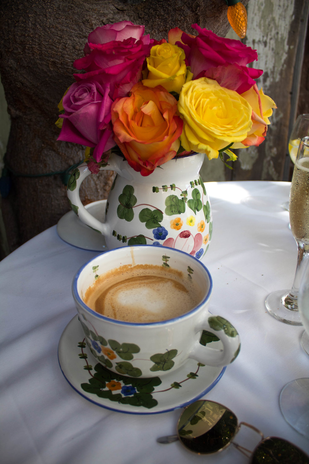 The Ivy Restaurant. latte. roses.