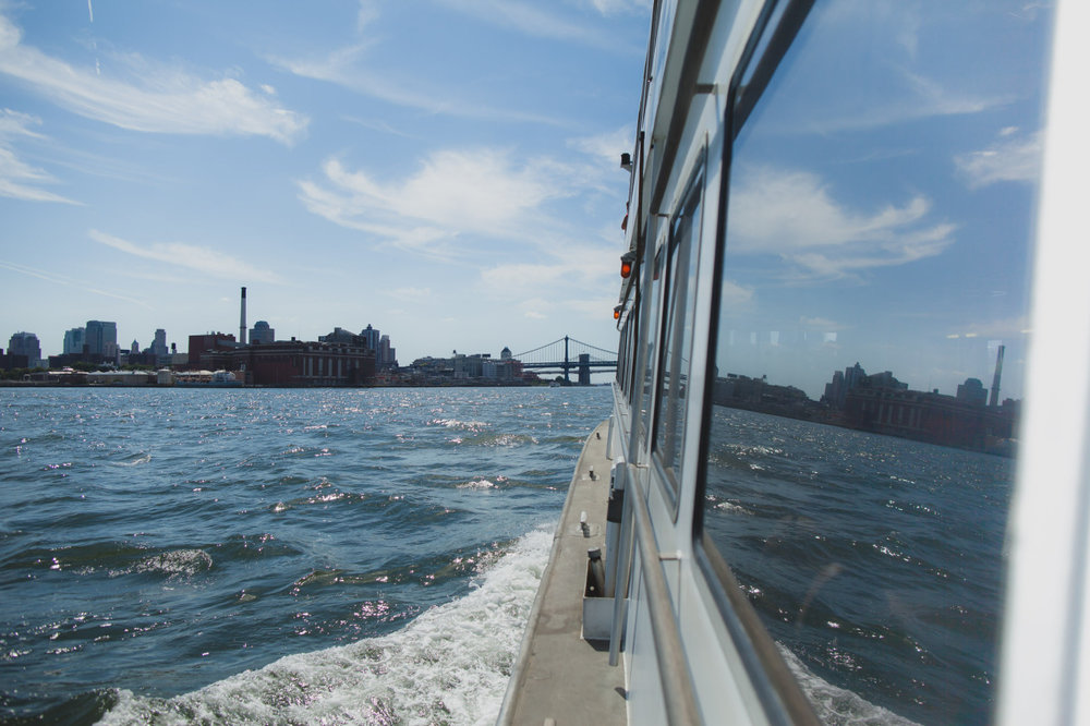 East River Ferry going to DUMBO. August 2015.
