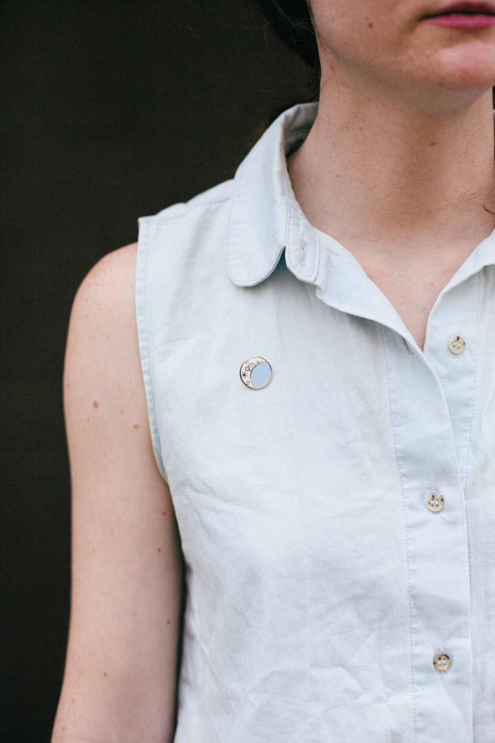 Moon pin  for City of Industry. Modeled by  Keeley  - July 2014.