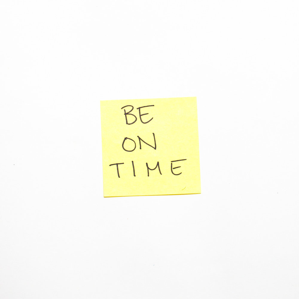 "I've noticed over the past month or so there are a few short phrases that I continuously repeat to myself. One of them is ""Be On Time."" I know I just talked about this on my blog, but I repeat this to myself between 3 and 17 times every day. As I grow up I notice more and more the importance of being prompt.   When you show up on time, it shows     that you are professional     that you care     that you are considerate     that you value the time of others     Alternately, when you are constantly late it shows     that you are a child     that you don't care      that you don't need or want this meeting / job / etc.     that you don't value the time of others     So, while, I'm not perfect and I still am late from time to time. 2014 is the year that I will be on time.   I'll be sharing throughout the year more of these mantras that I consistently find myself repeating."