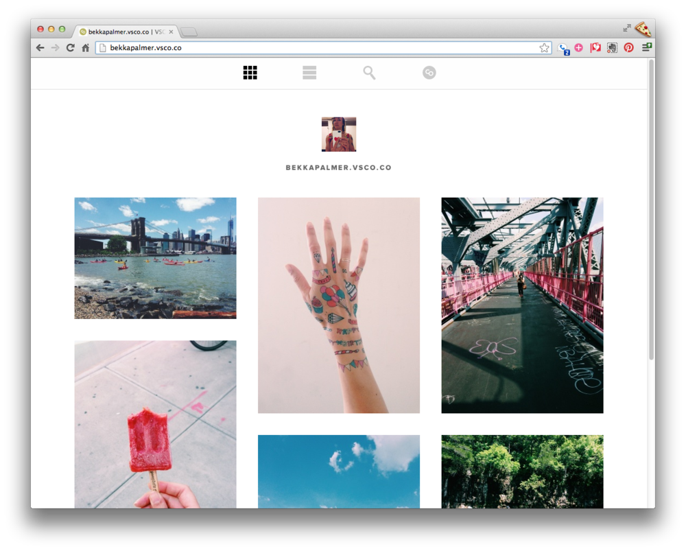 I've been using the new  VSCO Cam iPhone app to process photos and really love their presets. I just started my VSCO Grid at  bekkapalmer.vsco.co . Do you have a grid? I would love to see more!