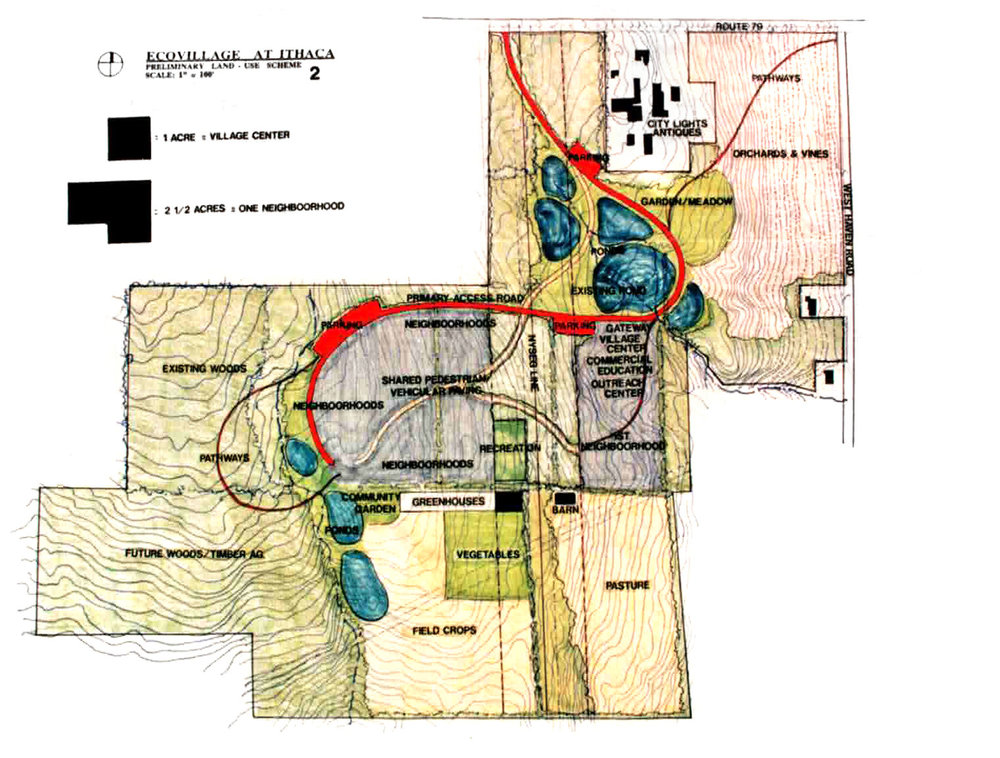 Ecovillage at Ithaca-Prelim-land use scheme-1993-2.jpg