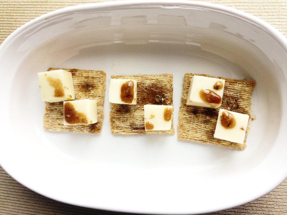 Fig Infused Balsamic mozzarella cracker horderves.