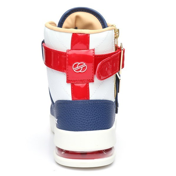 FA18 // Straight Jacket Plus in Nautical // Half air bag in heel for maximum comfort with red patent leather accents for vibrant uniqueness #RADII #DEFINEYOURSELF