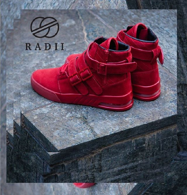 "FA18 // Straight Jacket Plus in ""Bloody Mary"" black red vegan suede still have a few sizes left // Get them now on radiifootwear.com #RADII #INDIVIDUALITY #DEFINEYOURSELF"