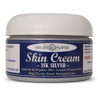 4    Ounce Jar-  Soothing, hydrating, nanosilver infused skin cream. Nanosilver is naturally antibacterial, antiviral and anti-fungal.    Contains  3-1/2% by weight  (35,000 ppm) of real nanosilver! We produce ultra-high purity .9999+ silver nanoparticle for use in our products. All natural, organic formulation with no harsh chemicals or preservatives. Use on any skin conditions on the surface of the skin. Contains over 1,000 times more real silver than typical silver gels!     Price:  $249.95