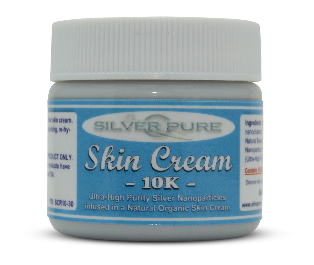 1 Ounce Jar    -  Soothing, hydrating, nanosilver infused skin cream. Nanosilver is naturally antibacterial, antiviral and anti-fungal.    Contains  1% by weight  (10,000 ppm) of real nanosilver! We produce ultra-high purity .9999+ silver nanoparticle for use in our products. Contains over 1,000 times more real silver than typical silver gels!     Price:  $24.95