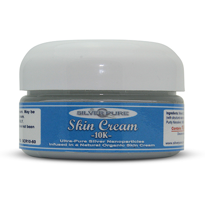 2 Ounce Jar-  Soothing, hydrating, nanosilver infused skin cream. Nanosilver is naturally antibacterial, antiviral and anti-fungal.    Contains  1% by weight  (10,000 ppm) of real nanosilver! We produce ultra-high purity .9999+ silver nanoparticle for use in our products.  Use on any skin conditions on the surface of the skin. Contains over 1,000 times more real silver than typical silver gels!     Price:  $44.95