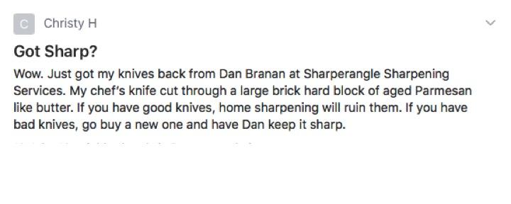 Sharperangle sharpening services, Evergreen CO, Wow