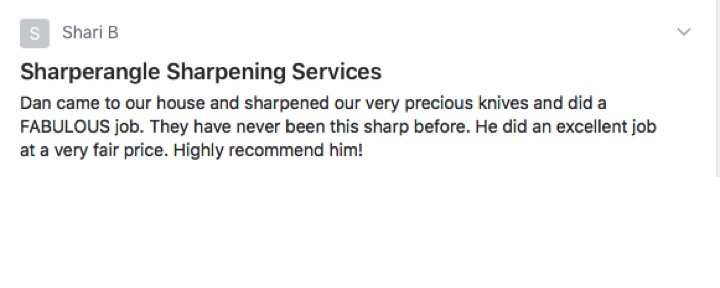 Sharperangle sharpening services, Evergreen CO, fabulous, fair price