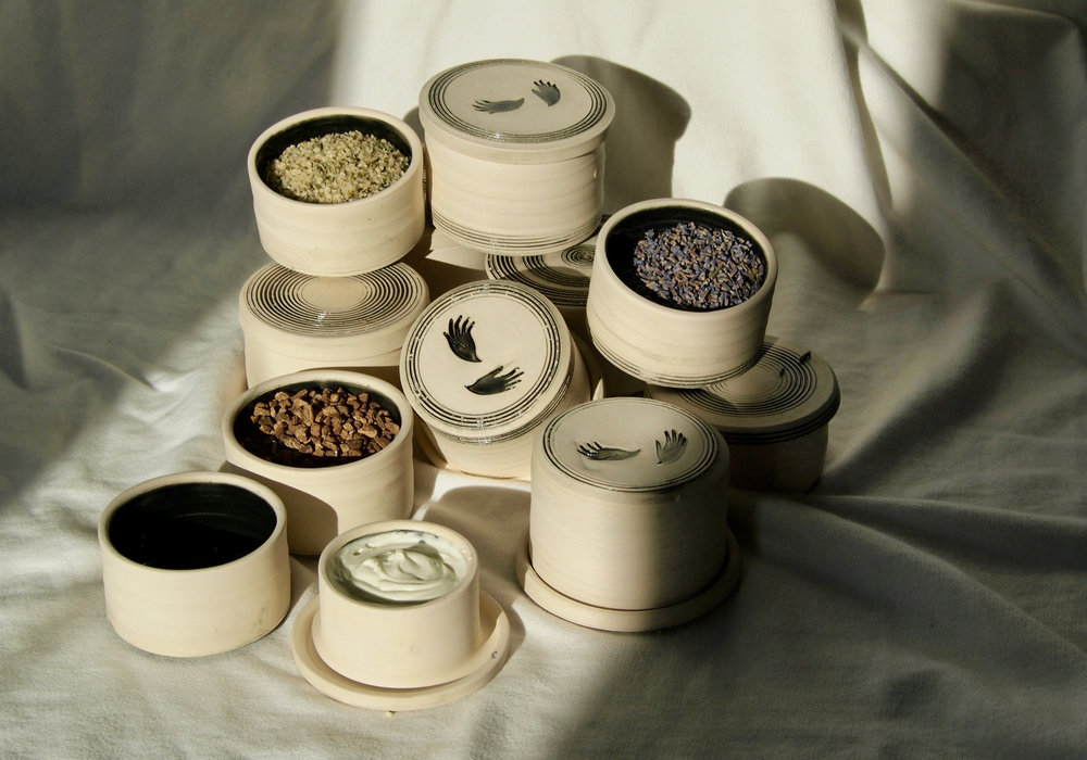 at home photo shoot with burdock root, lavender and hemp seed