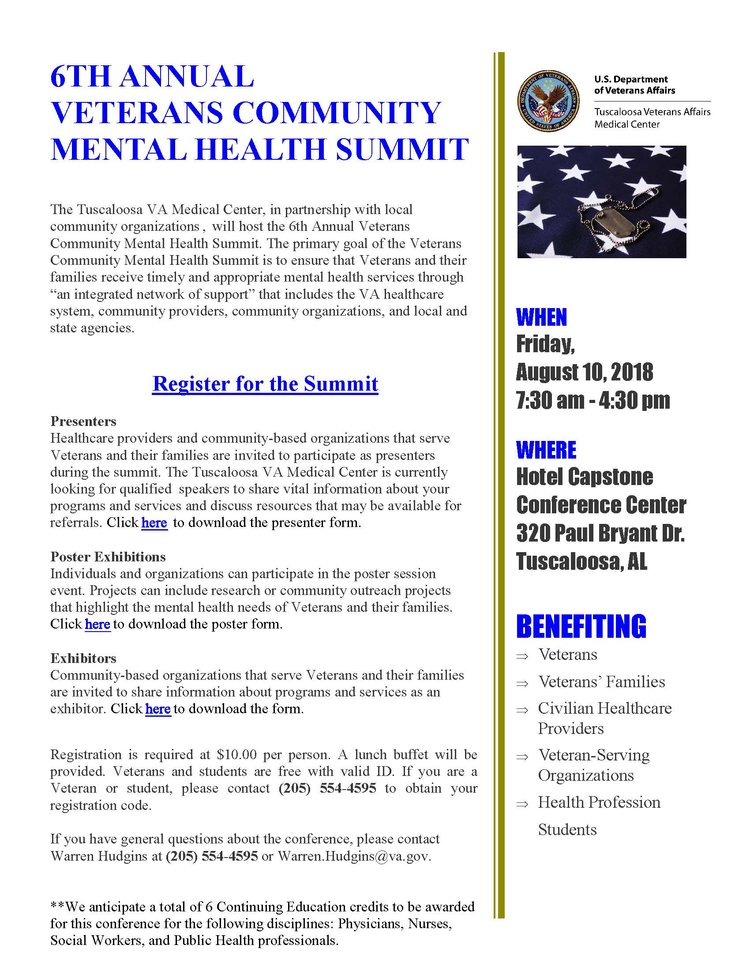 6th Annual Veterans Community Mental Health Summit Tuscaloosa
