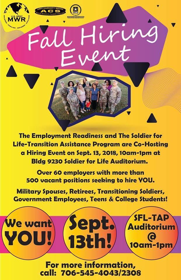 SFL 2018 Hiring Event Fort Benning