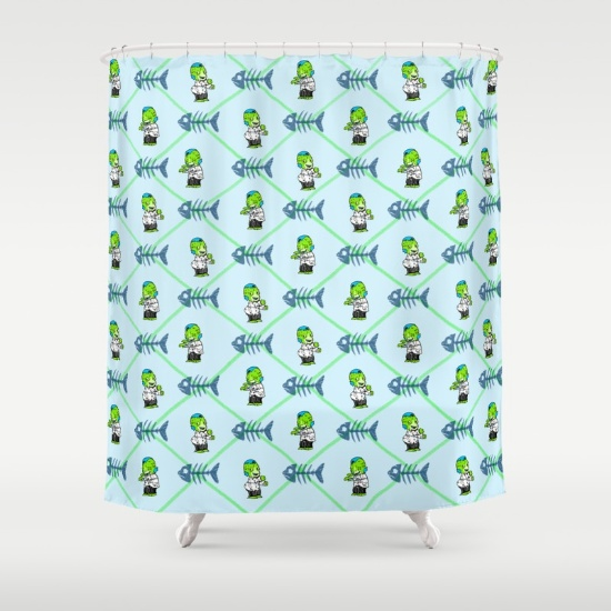 SHOWER CURTAINS Zombie Jr. shower curtains available on Society6.