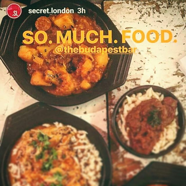 WE LOVE YOU GUYS ❤ @secret.london  #somuchfood #thebudapestbar #approved #hungarian #dinner #secretlondon #mysecretlondon #secretlondonspots #somuchlove #chicken #paprikas #krumpli #beefstew #porkolt #redwine #nightout #thanks #londonnights #eatout #eatwell #foods #foodie #foodporn