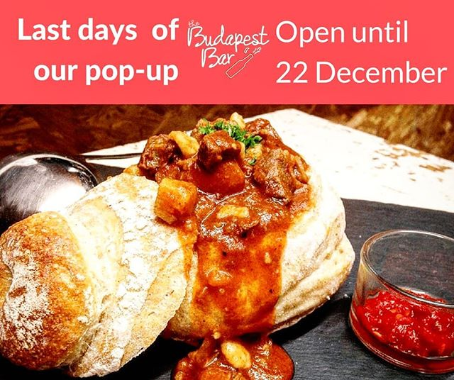 Get you Goulash levels sky high before we go on a break 🏃🏃 - 9 days left until we say goodbye to East London. This means you have 9 days to visit us for an amazing dinner 🍖🍜🍻🍷🍹😍 #soulfood #popup #closingsoon #restaurant #eastlondon #bethnalgreen #foodspot #ldn #thingstodolondon #winterfood #goulash #bestfood #winter #foodspot #londontown #yummm #foodporn #omg #budapest #bar #kitchen #tapas #smallplates #toshare #dinners