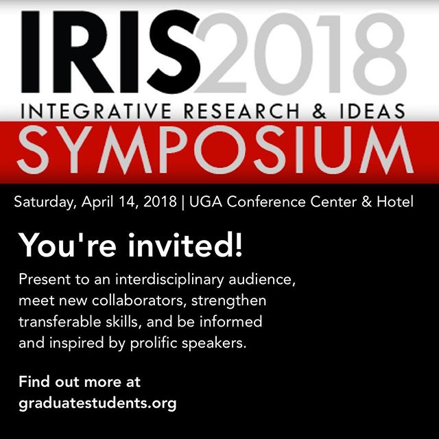 IRIS 2018 announcement forthcoming! Watch your inboxes, and help spread the word. This year's conference will absolutely be an unmissable opportunity to learn, network, and be left generally mind-blown. #IRIS2018 #IRIS #science #technology #engineering #math #art #learning #inspiration #UGA #conference #2018 #research #NAGPS