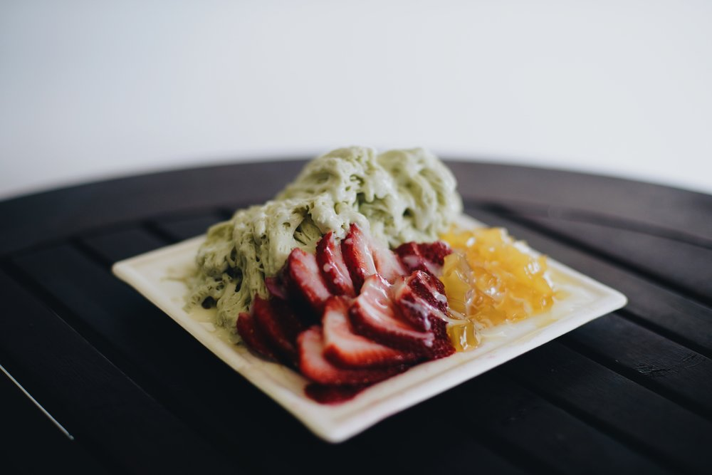 matcha shaved snow strawberries, mango stars