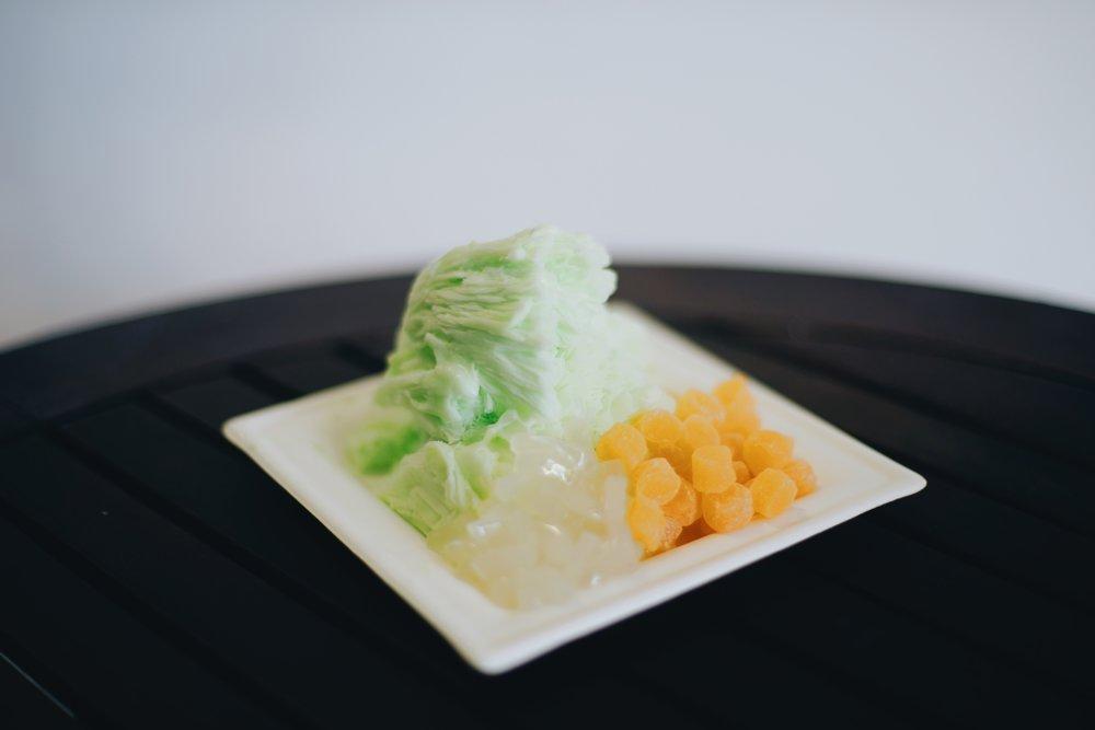 honeydew shaved snow  lychee jelly, mango mochi
